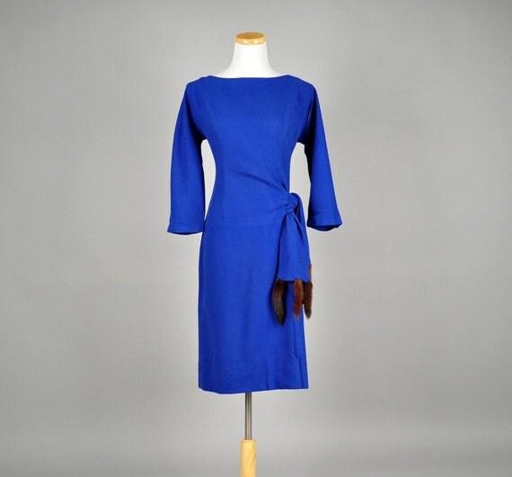 reserved......15% Off Sale vintage 50s dress wiggle mink cobalt blue knit cocktail party