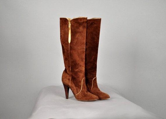 vintage 80s boots city suede italian designer cognac gold
