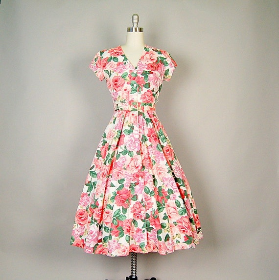 vintage 80s dress cotton floral full skirt 50s