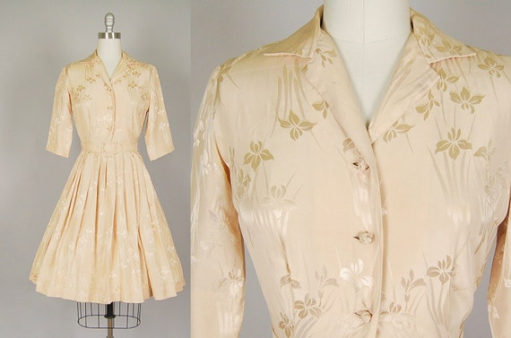 vintage 1950s dress full skirt silk brocade designer taupe cocktail wedding belt