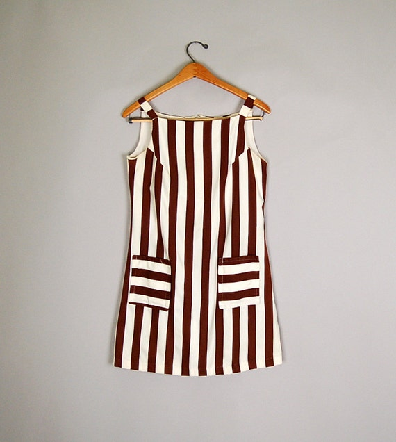 vintage 60s mini dress romper striped cotton brown white