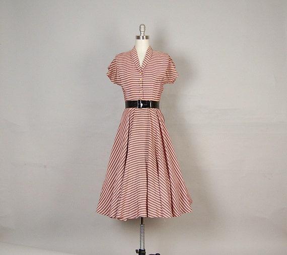 vintage 1940s dress striped full skirt salmon pink slate gray
