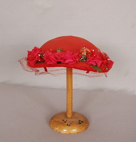 vintage 1940s hat 40s hat red floral velvet woven rose