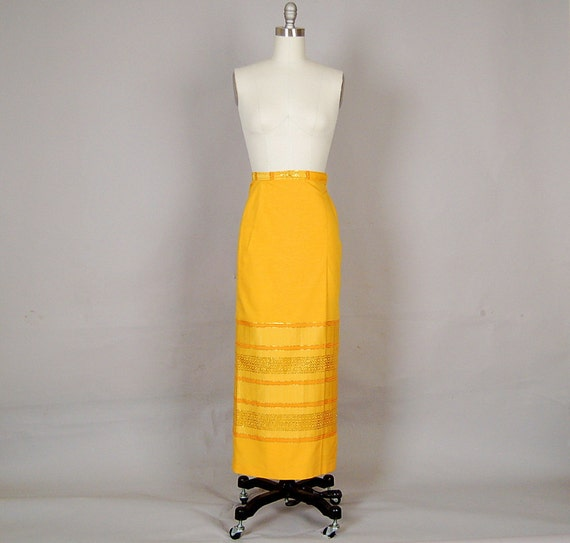 vintage 1970s skirt maxi metallic tribal gold pencil