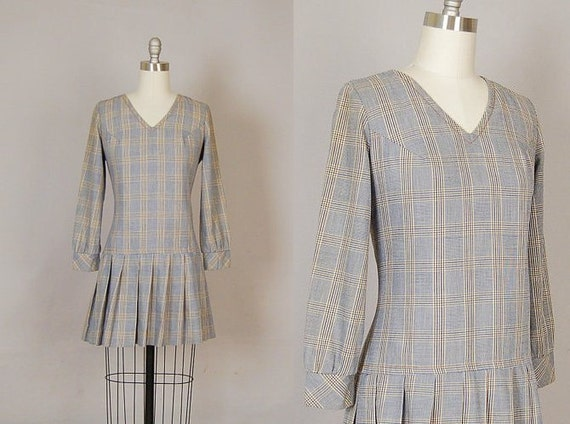 vintage 1960s dress 60s mini dress plaid cotton pleated long sleeve preppy