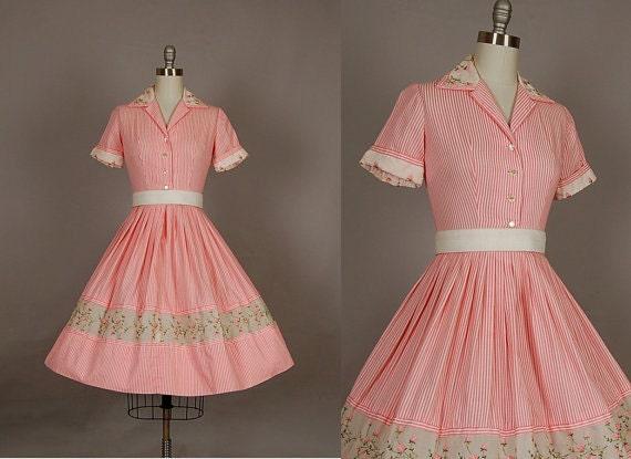 vintage 1950s dress 50s dress full skirt pinstripe silk organdy floral designer pink