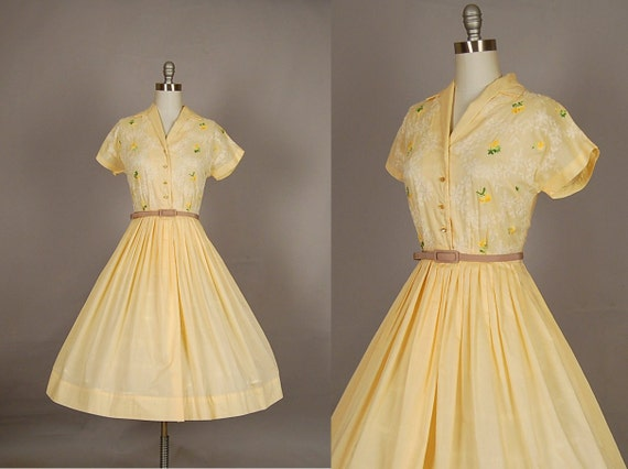 vintage 1950s dress full skirt embroidered floral cotton designer yellow day dress