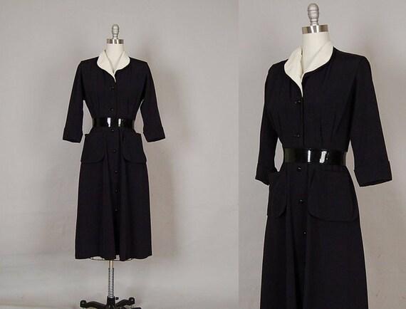 vintage 1940s dress 40s dress full skirt silk linen black