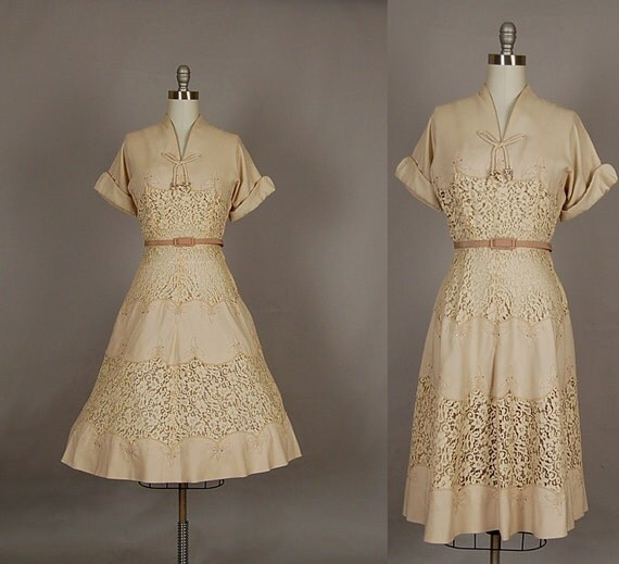 vintage 1950s dress 50s dress full skirt lace linen illusion rhinestone designer flax