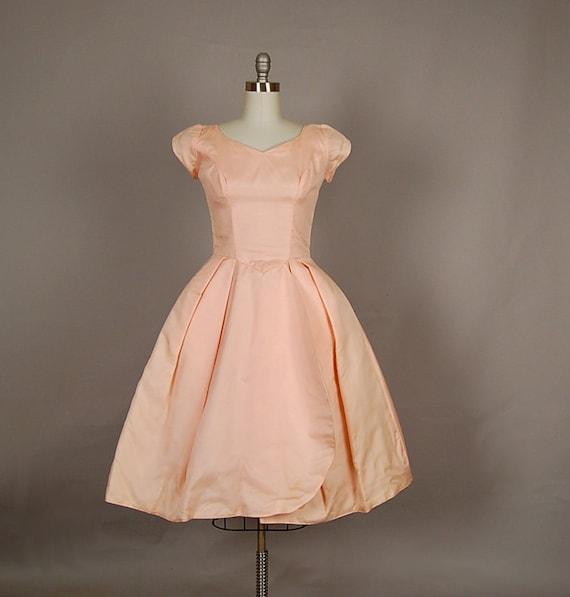 vintage 1950s dress full skirt silk organdy blush pink party
