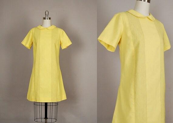 vintage 1960s dress 60s mini dress cotton striped lemonade yellow mod