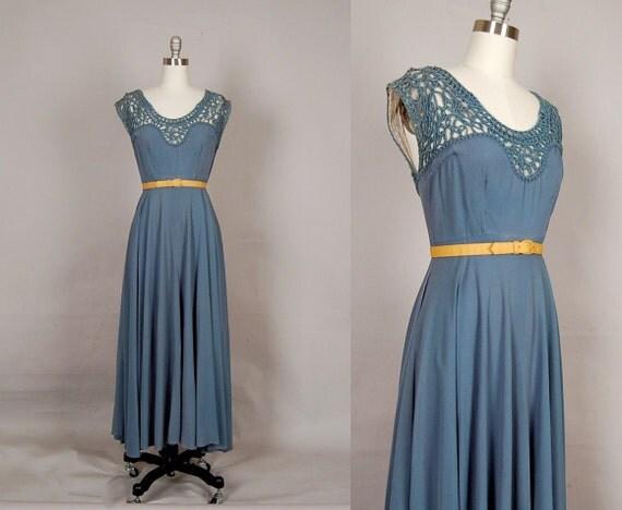 vintage 1940s dress 40s dress crepe crochet full skirt gown sea blue