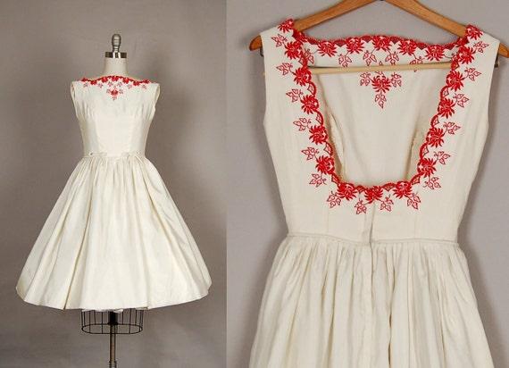 reserved...........vintage 1950s dress 50s dress silk taffeta embroidered backless white wedding