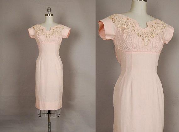 vintage 1950s dress 50s wiggle dress lace blush pink cotton wedding