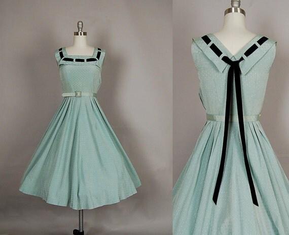 vintage 1950s dress 50s dress full skirt cotton velvet mint green party gown