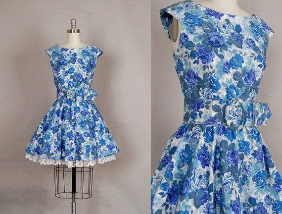 vintage 1980s dress 80s mini dress floral full skirt lace backless blue plaid
