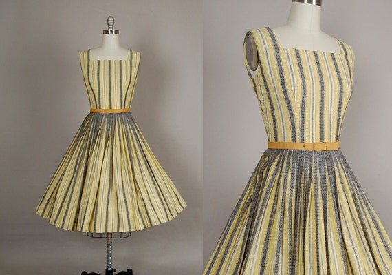 vintage 1950s dress 50s dress full skirt striped cotton gold gray day dress