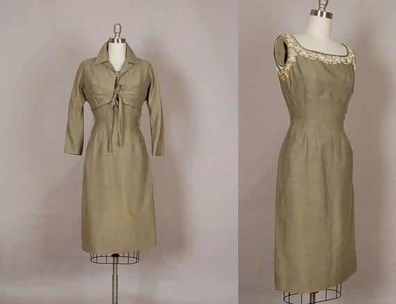 vintage 1950s dress 50s dress wiggle silk linen beaded designer olive green dress set
