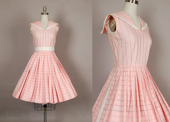 vintage 1950s dress 50s dress full skirt cotton striped pink dickie day dress