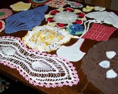 Large Lot of 19 Vintage Crochet Pieces, Doilies,  Colorful, Ready to Use or Repurpose