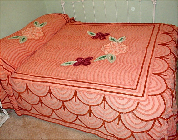 WOW...Vintage 1950s, Incredible Peachy Orange Chenille Bedspread with Huge Flowers, Full Size, Almost Perfect, GREATER REDUCTION