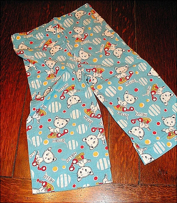 Vintage 1950s Little Britches, PJ Bottoms for Toddler, Kitty on Telephone