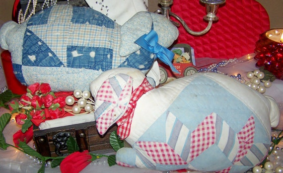 Two Late for Easter- Two Wonderful Old Quilted Bunnies, 14 x 8 PRICE REDUCED