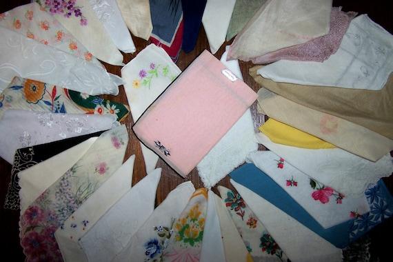 34 Vintage Ladies' Handkerchiefs, Hankies, from 1930's Forward, Silk, Lace, Cotton, Etc