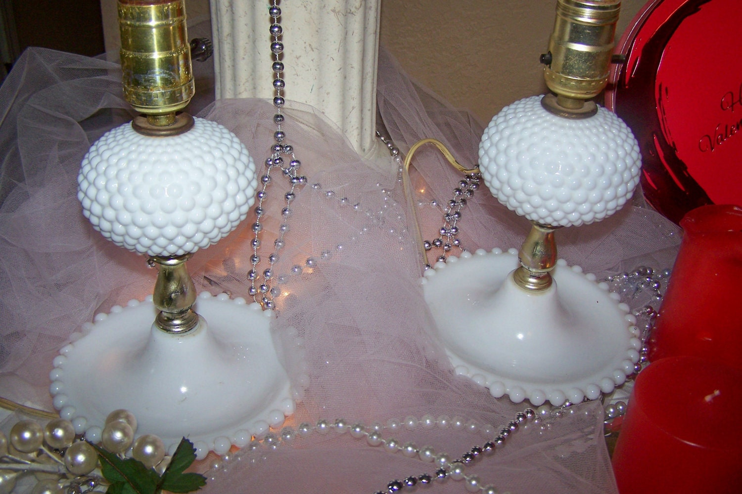 1950's BOUDOIR LAMPS Two 2 Vintage Bedroom Lamps