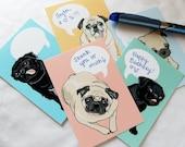 Convo Pug Cards - Eco-friendly Set of 5 - Jumbo Size