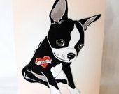 Custom Boston Terrier Tattoo Greeting Card