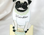 Pug Desk Decor Paper Doll - Customized with your Pug's Name