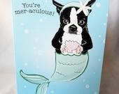 Boston Terrier Mermaid Greeting Card