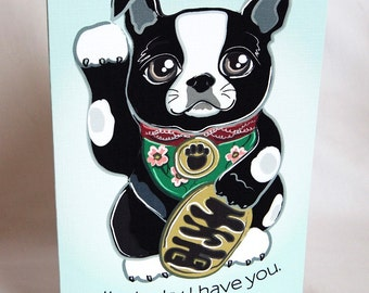 Lucky Boston Terrier Greeting Card