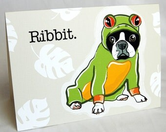 Boston Terrier Frog Greeting Card