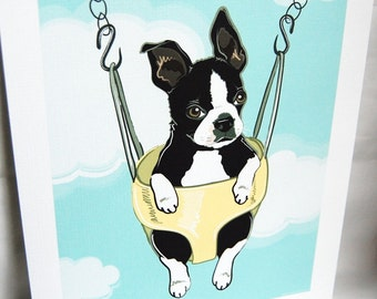 Swinging Boston Terrier - Eco-friendly 7x9 Print