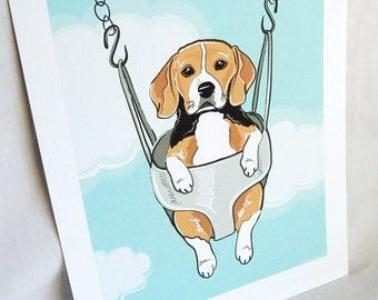 Swinging Beagle - Eco-friendly 7x9 Print