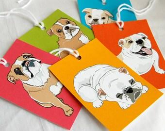 Jumbo Bulldog Gift Tags - Set of 5