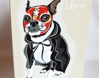 Luchador Boston Terrier Greeting Card