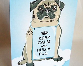 Keep Calm Fawn Pug Greeting Card