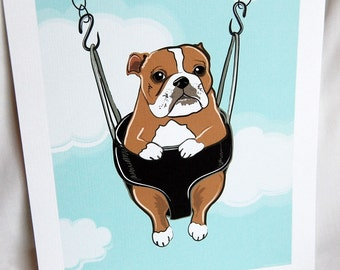 Swinging Bulldog - Eco-friendly 7x9 Print