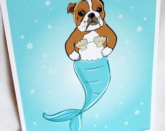 Mermaid Bulldog - Eco-Friendly 8x10 Print