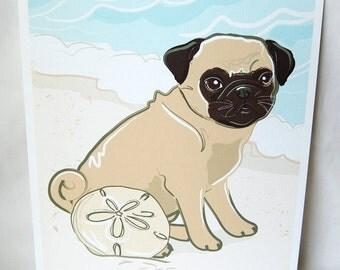 Beach Pug - Eco-Friendly 8x10 Print