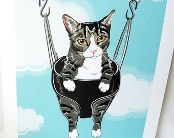 Swinging Tabby Cat - Eco-friendly 7x9 Print