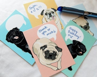 Convo Pug Valentines - Eco-friendly Set of 5