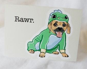 Lil Dragon Puggle Greeting Card