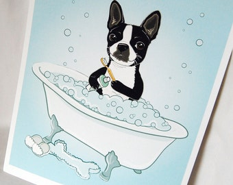 Bathtime Boston Terrier - Eco-Friendly 8x10 Print