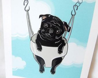 Swinging Black Pug - Eco-friendly 7x9 Print