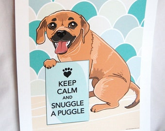 Keep Calm Puggle with Blue-Gray Scaled Background - 7x9 Eco-friendly Print