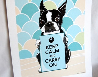 Keep Calm Boston Terrier with Scaled Background - 7x9 Eco-friendly Print